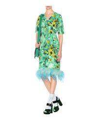 Prada Green Bedrucktes Kleid mit Federn