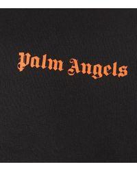 Sweat-shirt raccourci en coton brodé Palm Angels en coloris Black