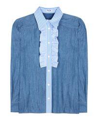 Camicia di jeans con ruches di Miu Miu in Blue