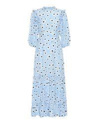 Robe midi Monet en coton et soie imprimée Rixo en coloris Blue