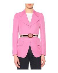 Cintura in tessuto con Doppia G e cristalli di Gucci in Multicolor