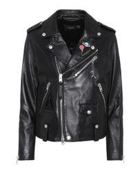 COACH - Black Space Moto Leather Jacket - Lyst