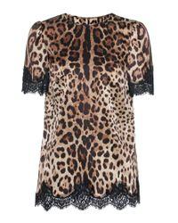 Dolce & Gabbana Multicolor Leopard-printed Satin Top