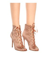 Gianvito Rossi Pink Exclusive To Mytheresa.com – Marie Satin Peep-toe Ankle Boots