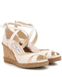 Sandales compensées Alanah 80 en cuir Jimmy Choo en coloris White