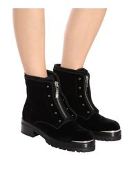 Alexander McQueen Black Velvet Ankle Boots
