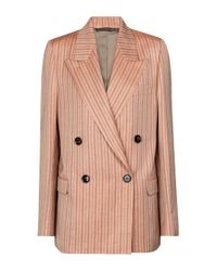 Acne Pink Striped Linen-blend Blazer