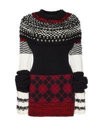 Burberry Black Pullover aus Kaschmir und Wolle mit handgestrickter Passe