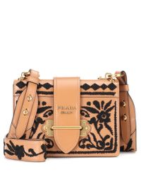 Prada Brown Cahier Leather Shoulder Bag