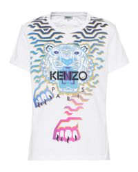 KENZO Blue Printed Cotton T-shirt