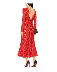 Oscar de la Renta Red Kleid aus Guipure-Spitze