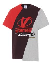 Vetements Red Patchwork Cotton T-shirt