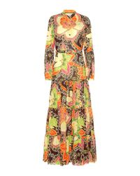 Gucci Multicolor Bedrucktes Maxikleid aus Baumwolle