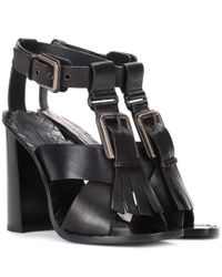 Bottega Veneta Black Leather Sandals