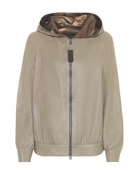 Brunello Cucinelli Green Hooded Leather Jacket