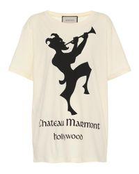 T-shirt oversize à imprimé Chateau Marmont Gucci en coloris White