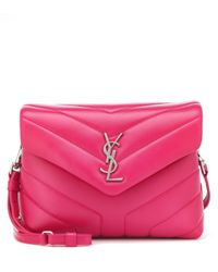 Saint Laurent - Pink Mini Loulou Leather Shoulder Bag - Lyst