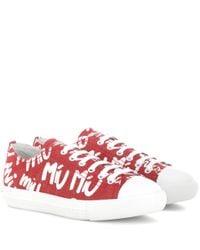 Miu Miu Red Logo Printed Sneakers