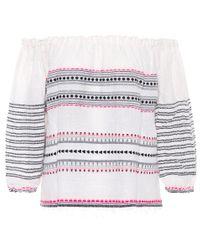 Blouse en coton à encolure bardot Mamo Lemlem en coloris Multicolor