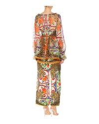 Dolce & Gabbana Multicolor Bedruckte Bluse aus Seidenchiffon