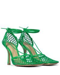 Bottega Veneta Green Pumps Stretch aus Mesh und Leder