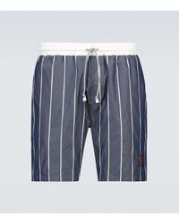 Brunello Cucinelli Gestreifte Badeshorts in Blue für Herren