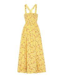 Abito a stampa floreale in cotone di Polo Ralph Lauren in Yellow