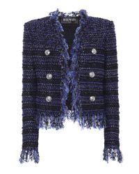 Balmain Blue Tweed-Jacke mit Fransen