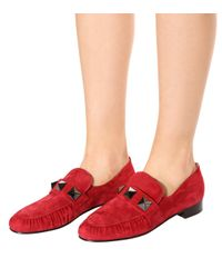 Valentino Red Suede Loafers