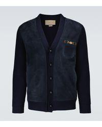 Cárdigan de lana con Horsebit Gucci de hombre de color Blue