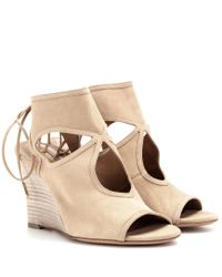 Aquazzura - Natural Sexy Thing Wedge Suede Sandals - Lyst