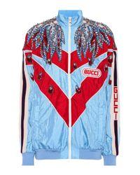 Gucci Blue Embellished Chevron Jacket