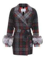 Prada Multicolor Fur-trimmed Wool Coat