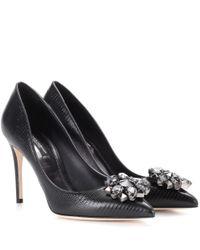 Dolce & Gabbana Black Embellished Leather Pumps