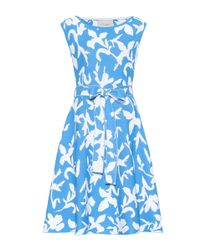 Carolina Herrera Blue Printed Jersey Dress