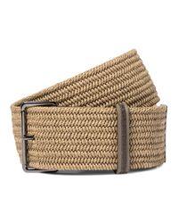 Brunello Cucinelli Natural Leather-trimmed Linen Belt