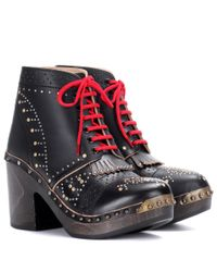Burberry - Black Embellished Leather Ankle Boots - Lyst
