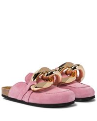 J.W. Anderson Pink Embellished Suede Slippers