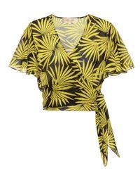 Crop top en seda y algodón y mangas estilo aleta Diane von Furstenberg de color Yellow