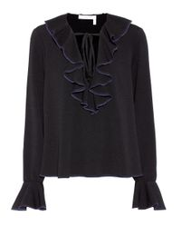 See By Chloé Black Ruffle-trimmed Top