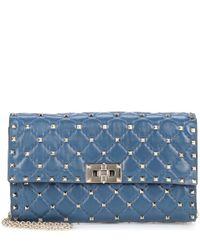 Valentino Blue Valentino Garavani Rockstud Spike Leather Shoulder Bag