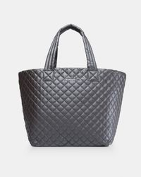 MZ Wallace Gray Quilted Steel Metallic Large Metro Tote