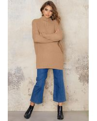 NA-KD - Natural Oversized Asymmetric Knitted Sweater - Lyst