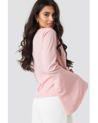 NA-KD Pink Boho Wrap Over Bell Sleeve Top