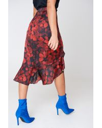 NA-KD Red Wrap Over Satin Frill Skirt Multicolor