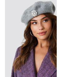 NA-KD Gray Embellished Beret Hat Grey