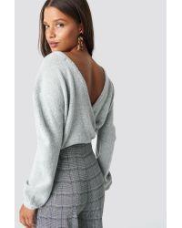NA-KD Gray V-Neck Back Overlap Knitted Sweater