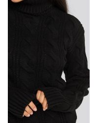 NA-KD Black Trend Polo Neck Cable Knitted Sweater