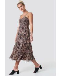 NA-KD Brown Mesh Layered Slip Dress