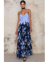 Lucy Paris Blue Floral Burnout Maxi Skirt